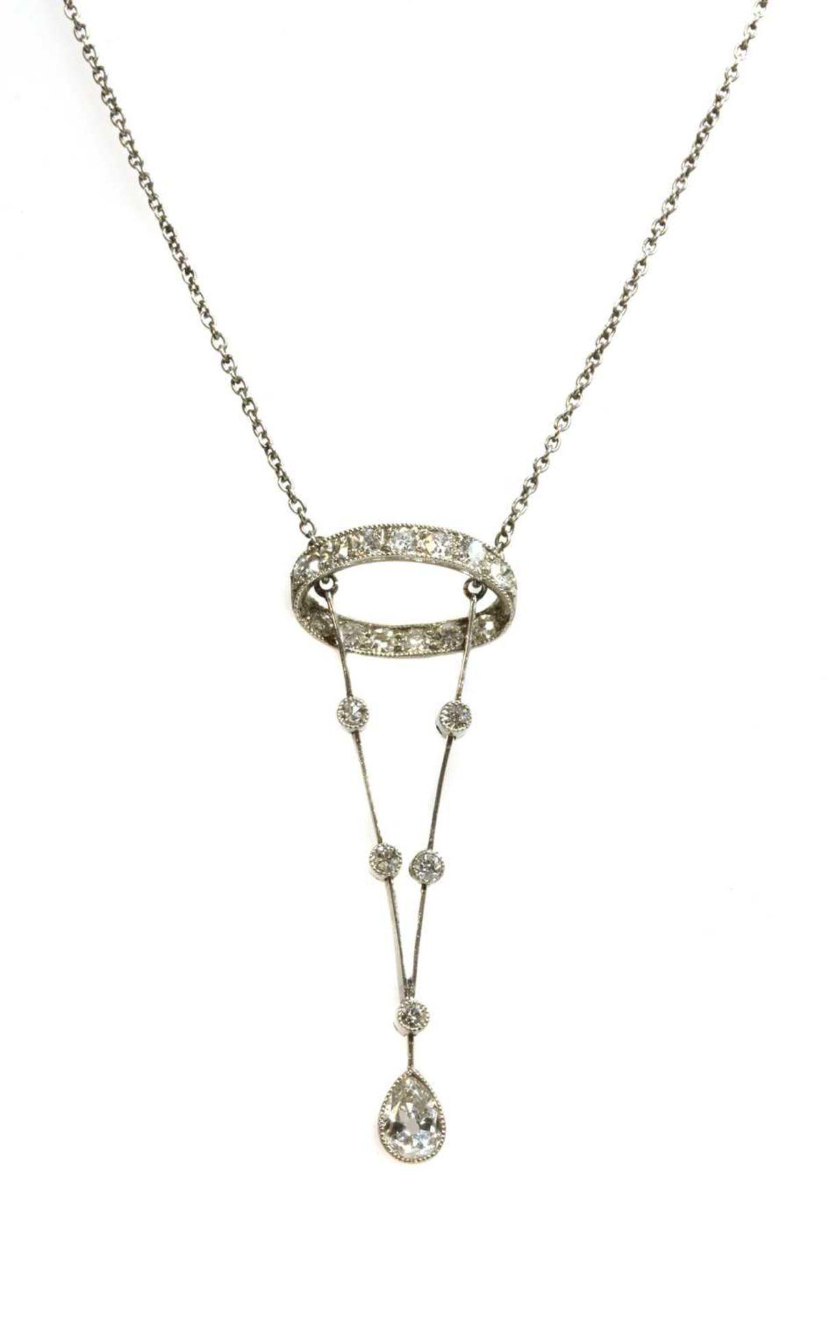 An Edwardian platinum diamond pendant,