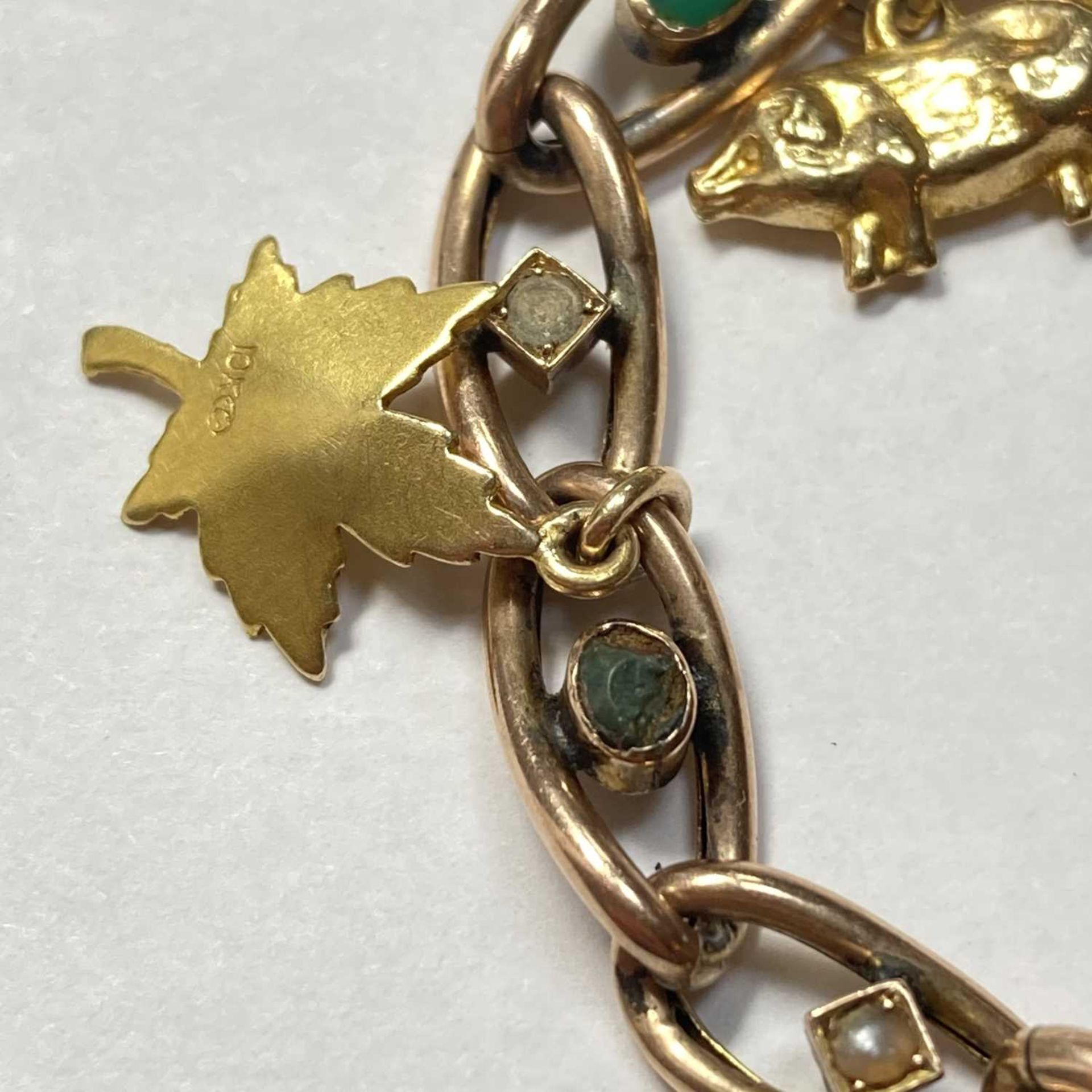 A late Victorian gold turquoise and split pearl curb bracelet, - Image 2 of 7