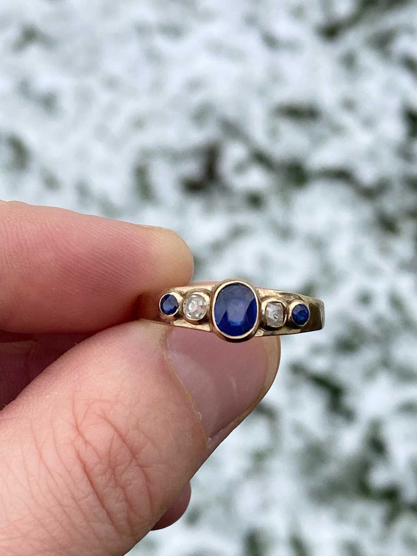 A gold sapphire and diamond five stone ring, - Image 6 of 6