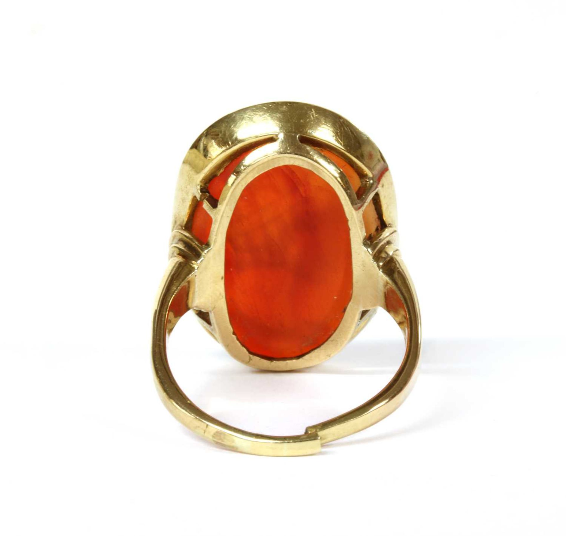 A gold intaglio hardstone signet ring, - Image 3 of 9