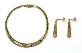 A 9ct three colour gold brick link bracelet and earring suite, c.1980,