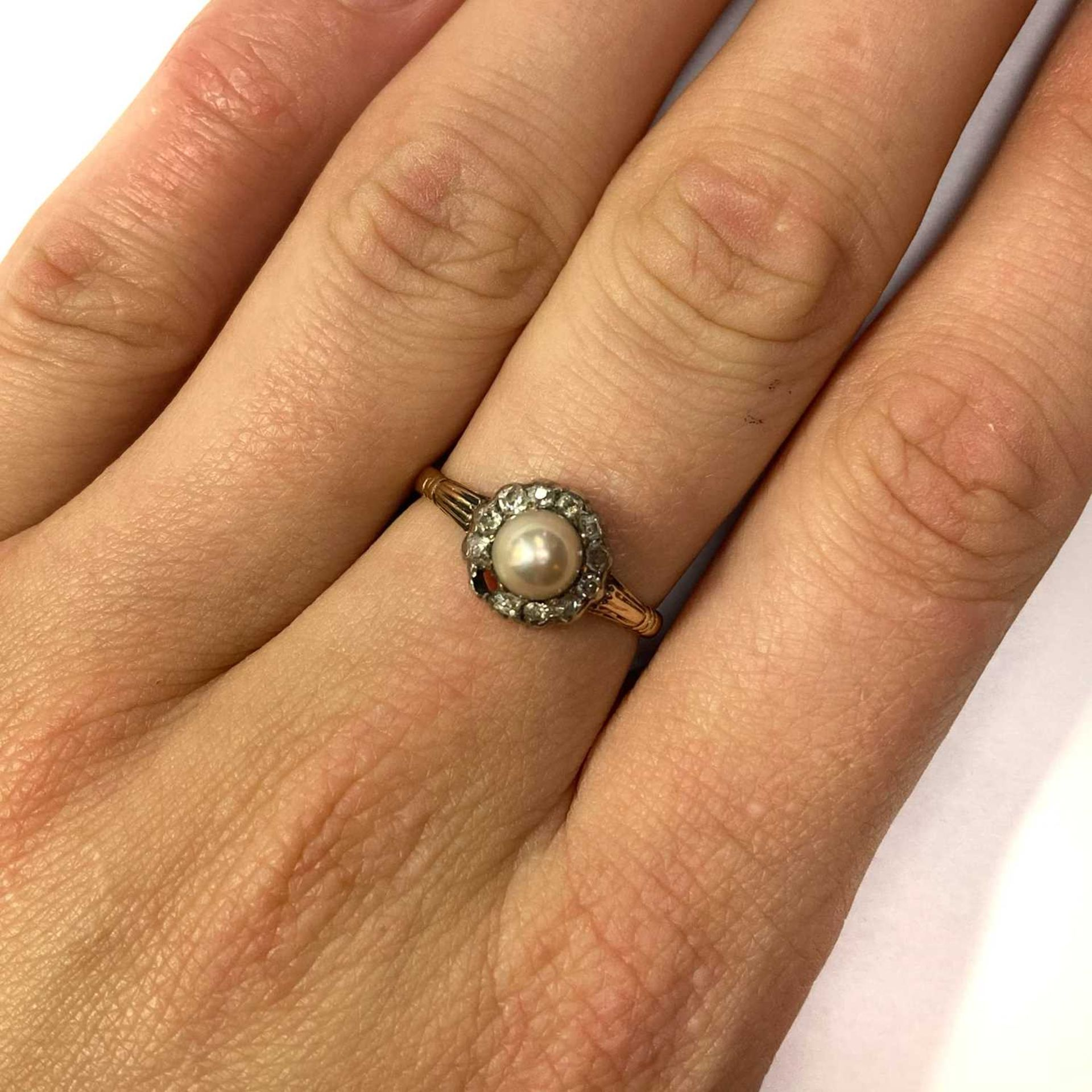 A gold pearl and diamond cluster ring, - Image 4 of 4