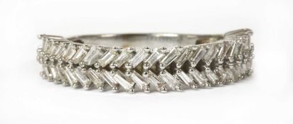 A white gold diamond ring,