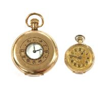 A Contintental gold open-faced pin set fob watch,
