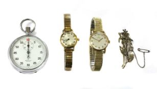 A ladies' 9ct gold Omega mechanical bracelet watch,