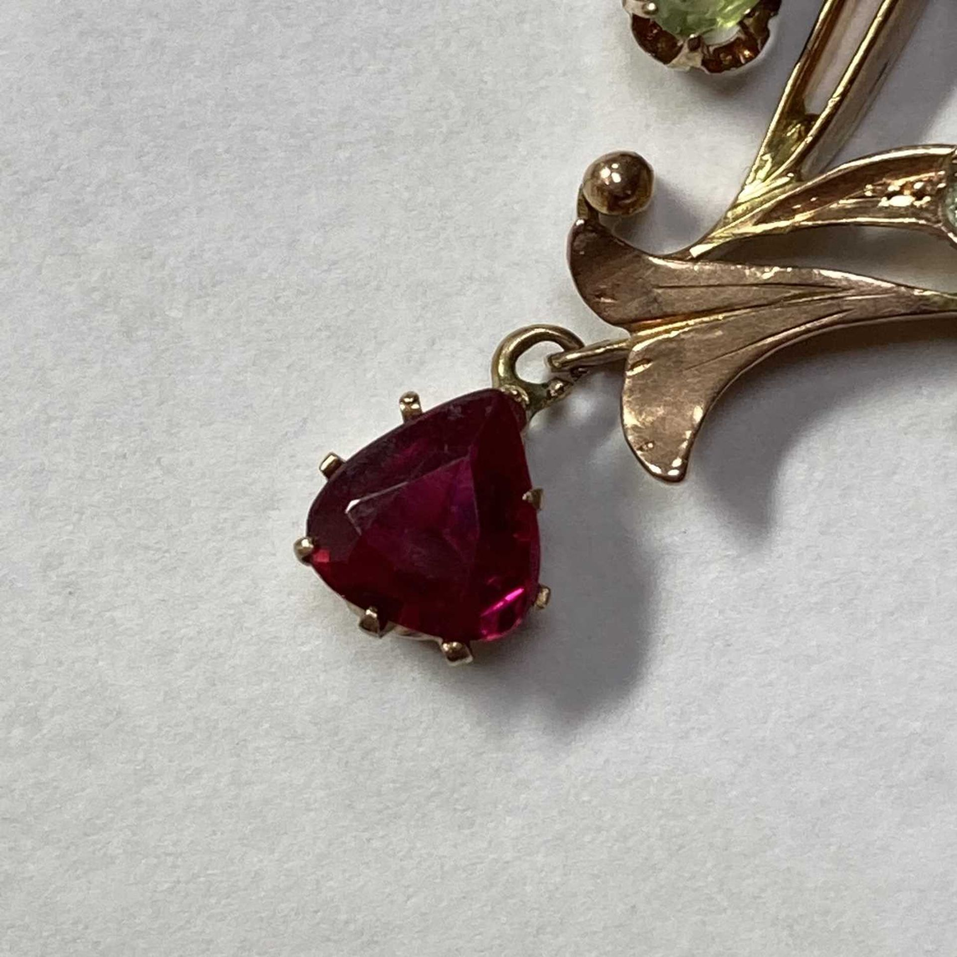 A Russian gold demantoid garnet and synthetic ruby pendant, - Image 3 of 5