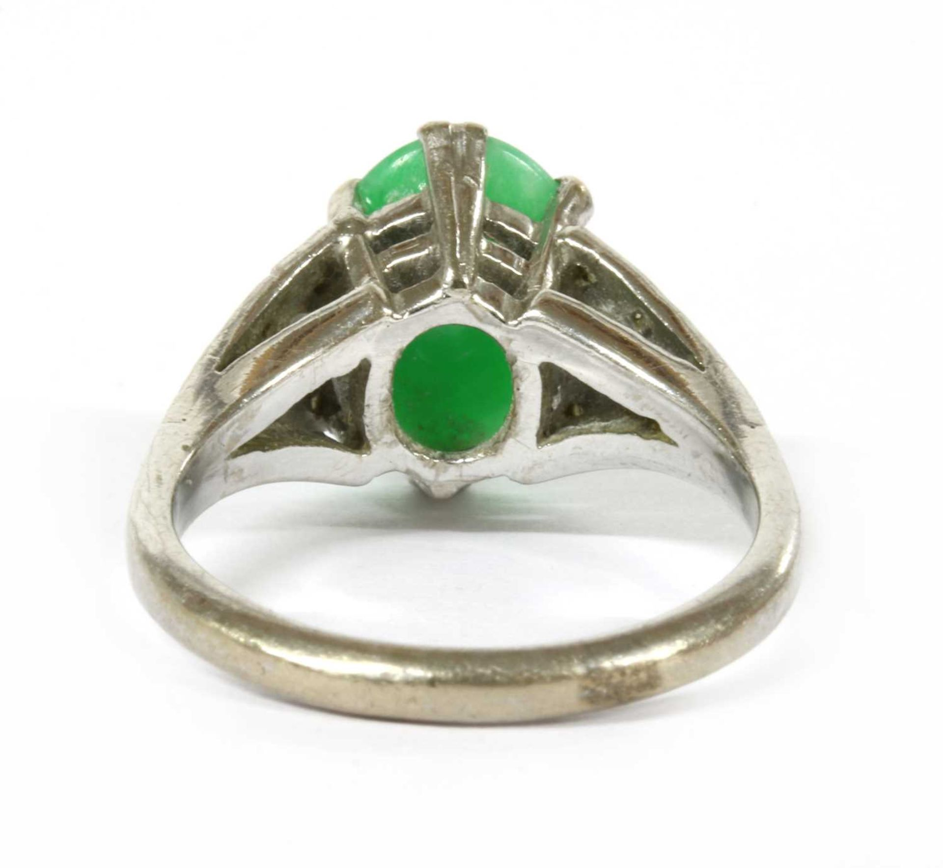 A white gold jade and diamond ring, - Image 2 of 4