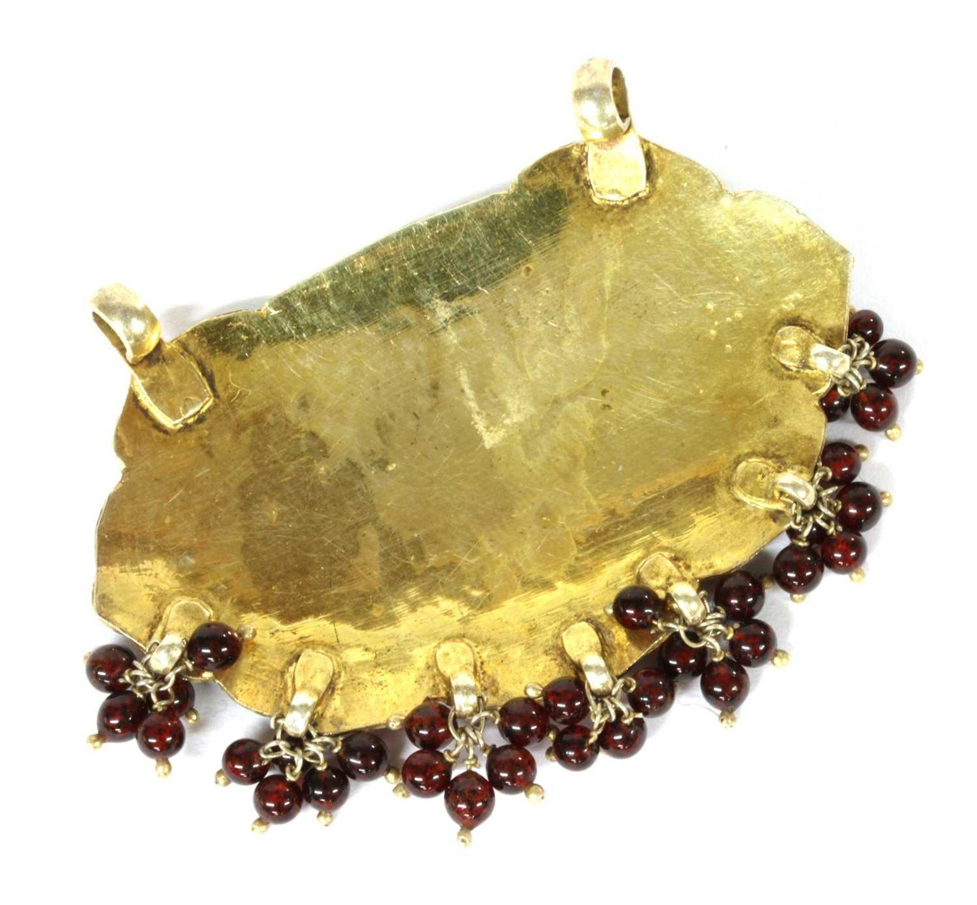A Persian silver gilt champlevé enamel pendant, - Image 2 of 2