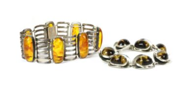 A German silver and reconstituted amber bracelet,