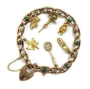A late Victorian gold turquoise and split pearl curb bracelet,