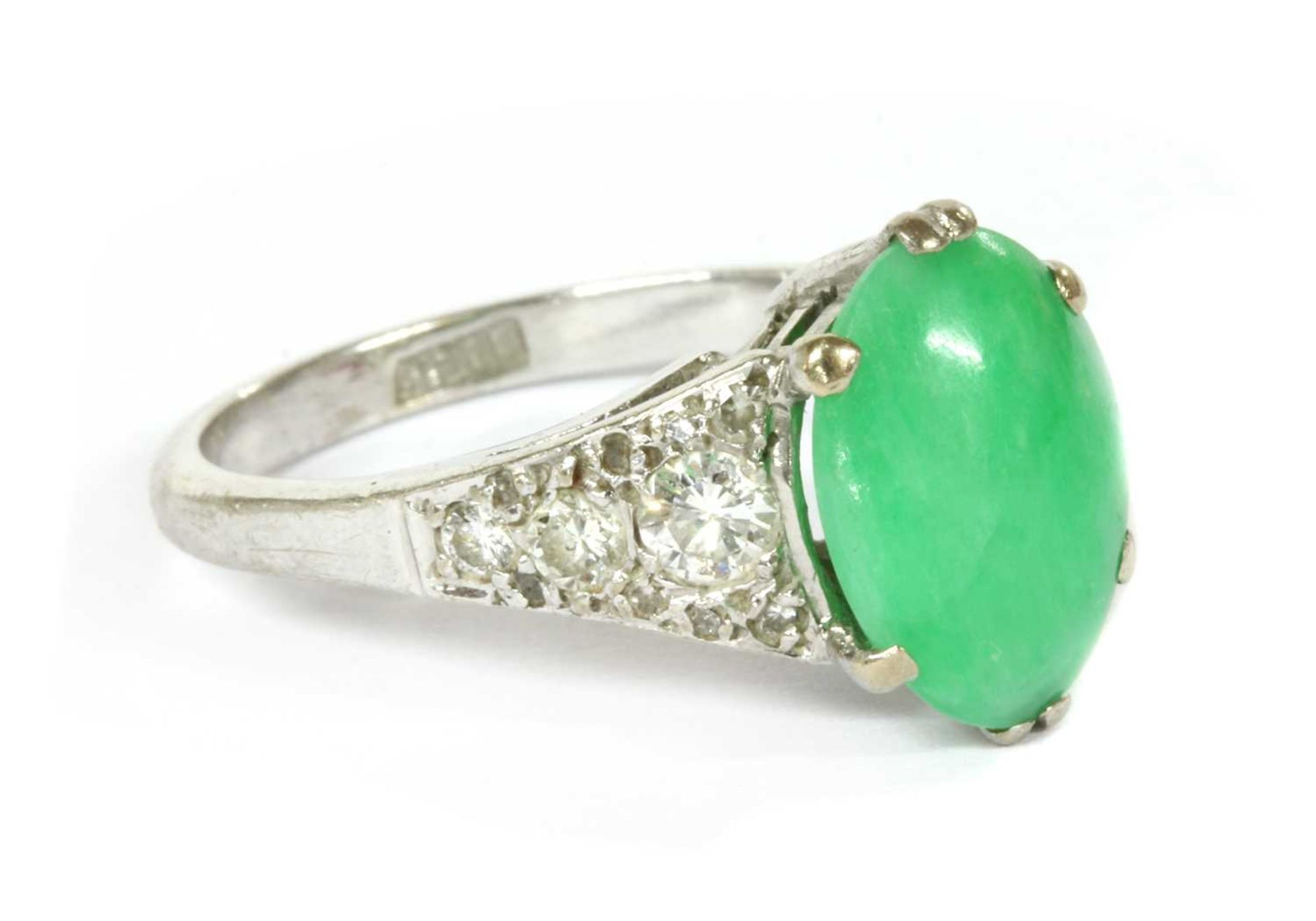 A white gold jade and diamond ring, - Image 3 of 4