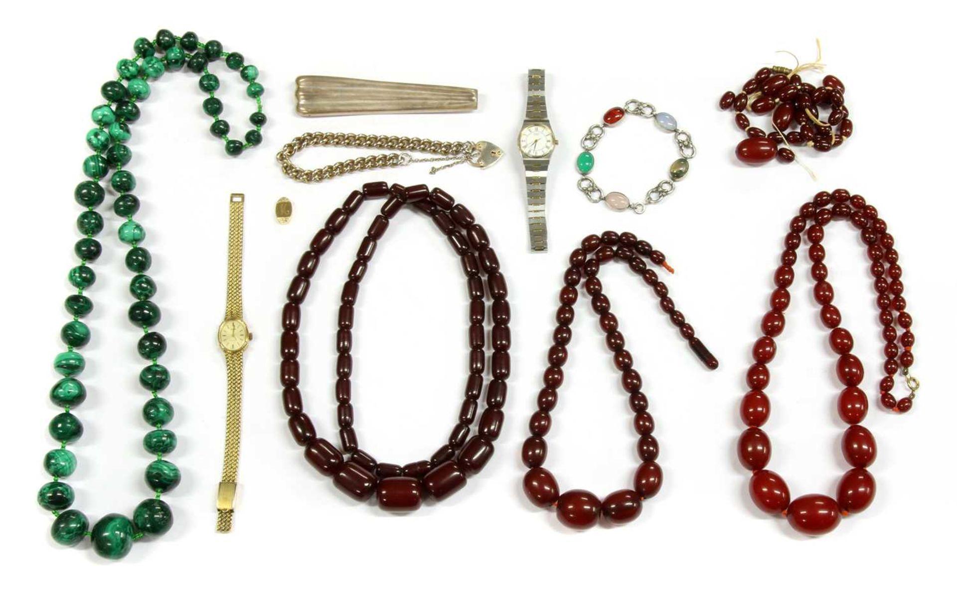 Four single row graduated Bakelite bead necklaces,