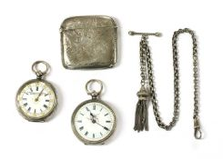 A silver key wound open-faced fob watch,