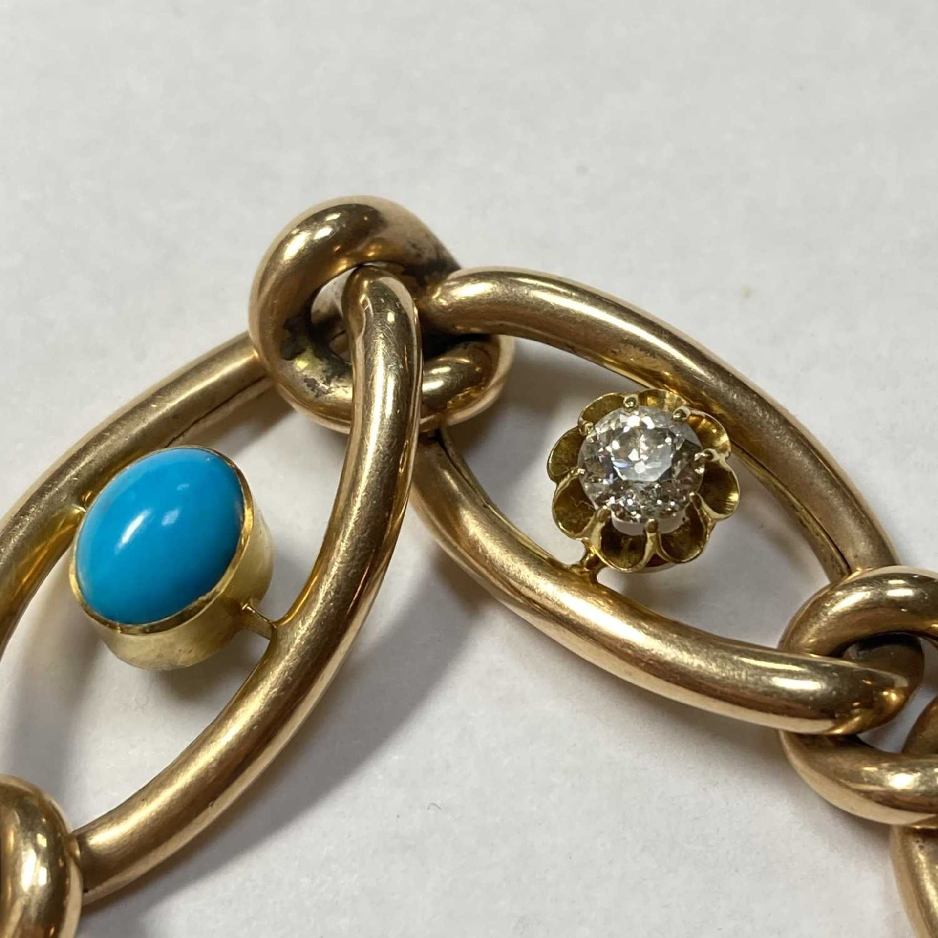 A Victorian gold turquoise and diamond graduated curb bracelet, - Image 4 of 4