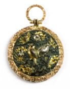 A Victorian gold mounted shakudo memorial locket,