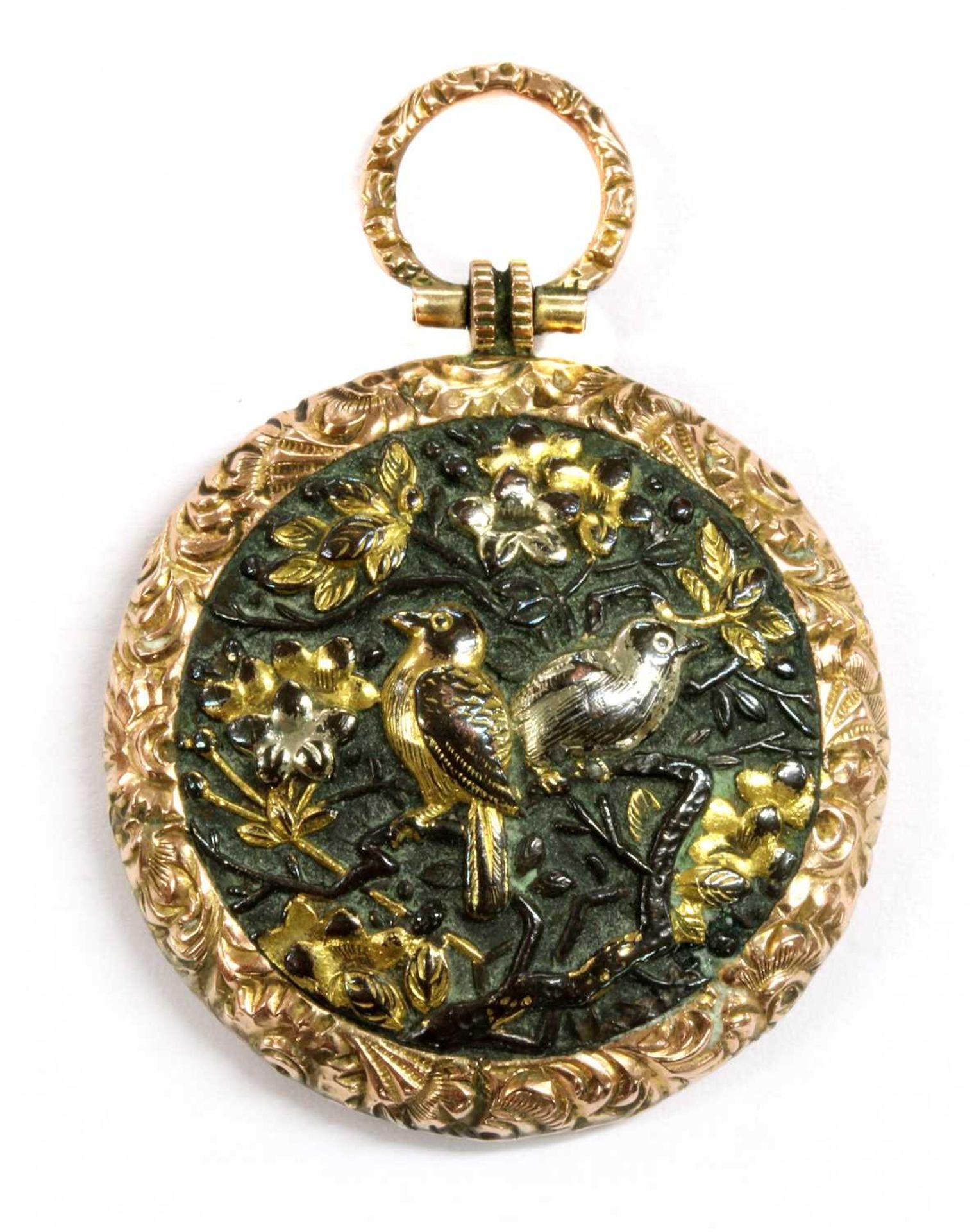 A Victorian gold mounted shakudo memorial locket,