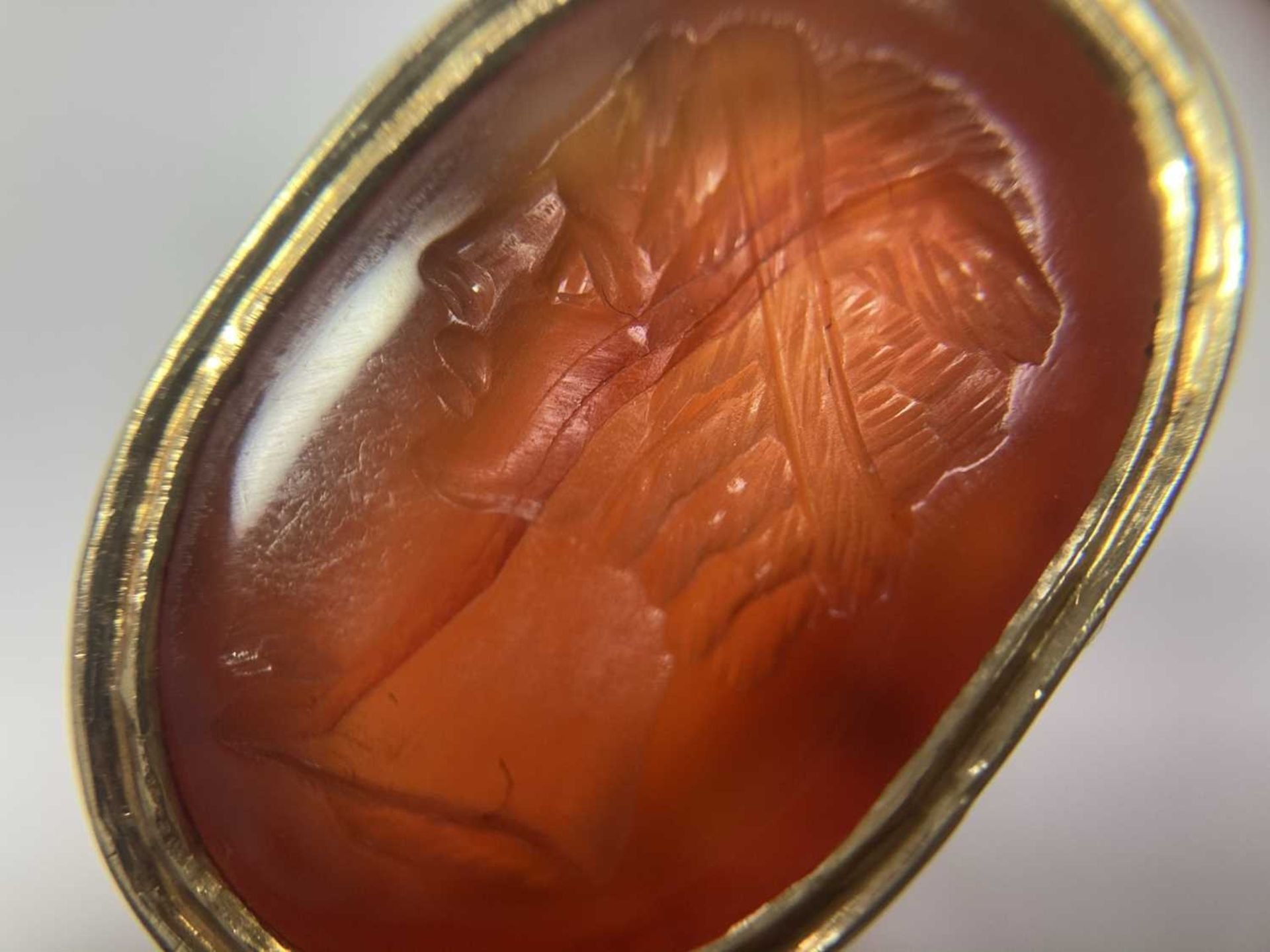 A gold intaglio hardstone signet ring, - Image 5 of 9