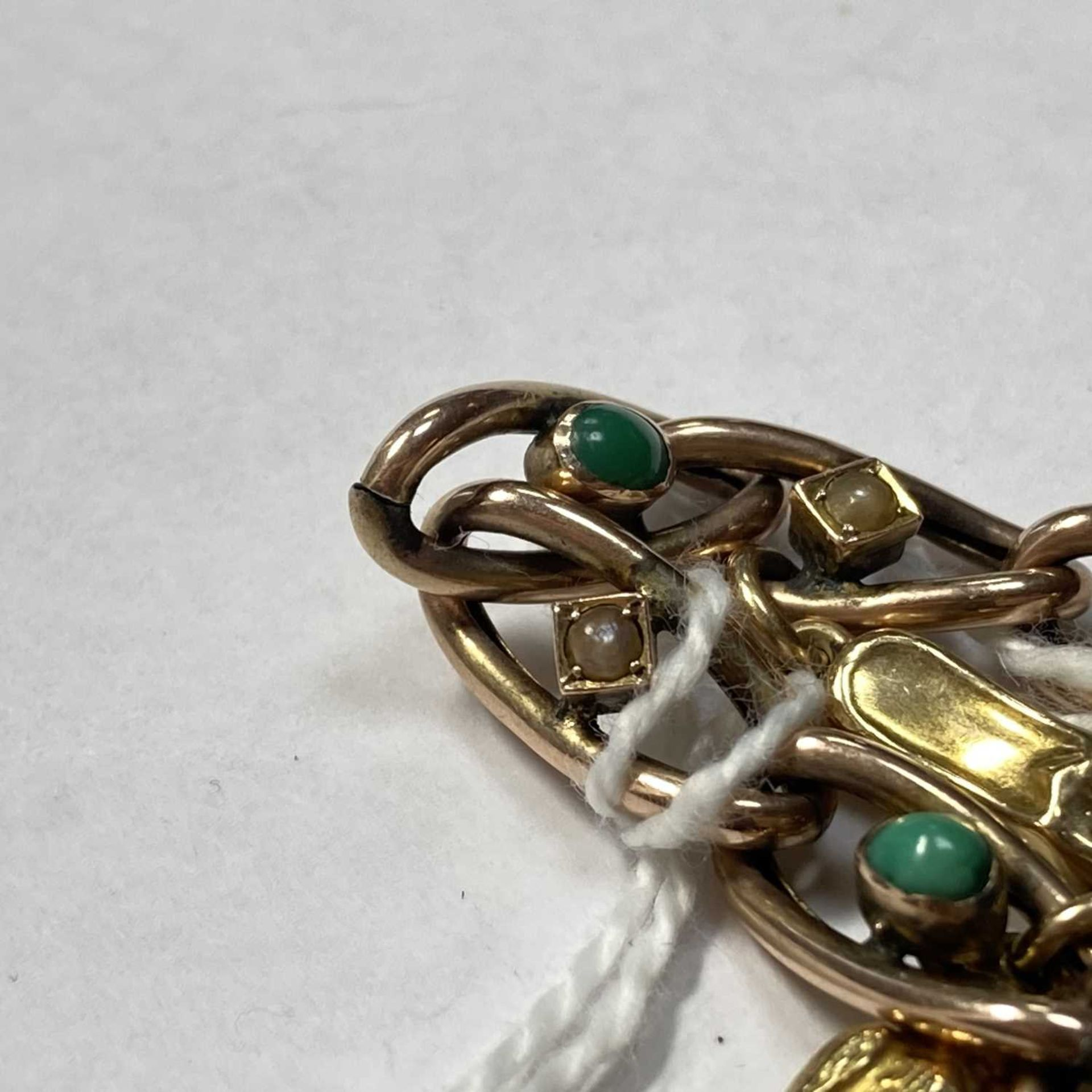 A late Victorian gold turquoise and split pearl curb bracelet, - Image 3 of 7