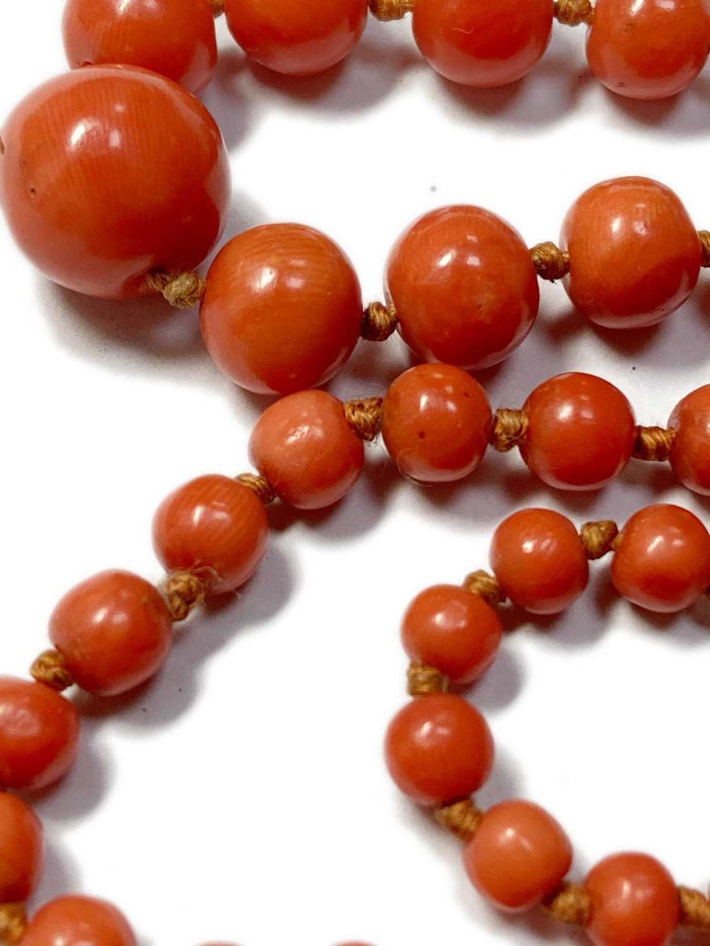 A single row graduated coral bead necklace, - Image 8 of 12