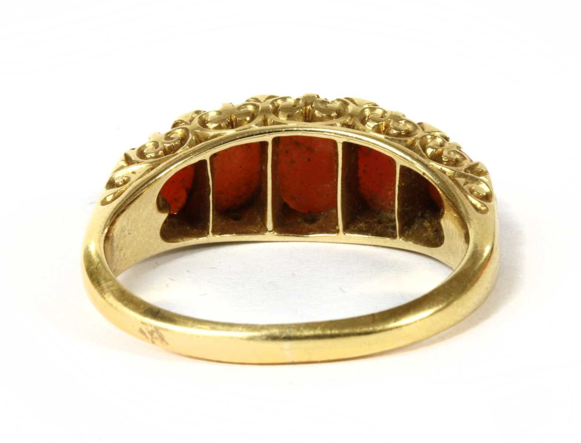 A Victorian gold five stone coral and diamond ring, - Image 2 of 4