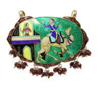 A Persian silver gilt champlevé enamel pendant,