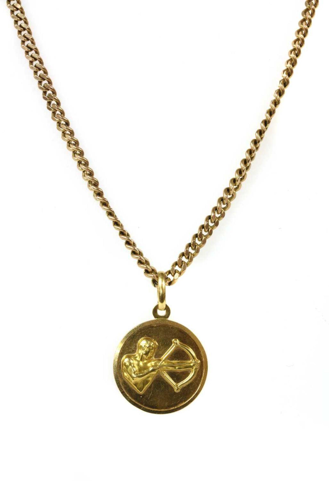 An Italian gold Sagittarius zodiac pendant, by UnoAErre,