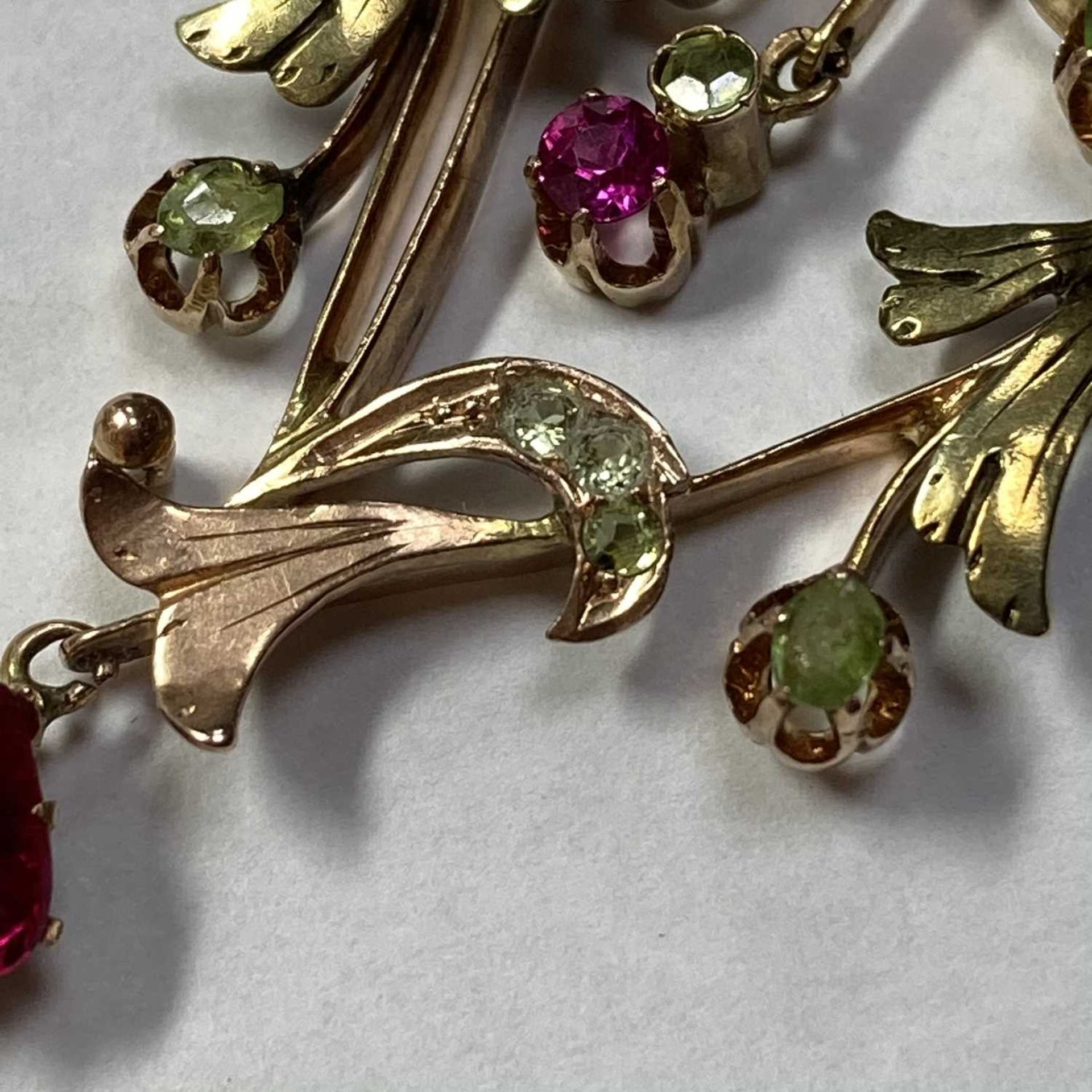 A Russian gold demantoid garnet and synthetic ruby pendant, - Image 5 of 5