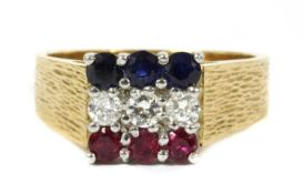 An 18ct gold ruby, diamond and sapphire ring, c.1980,