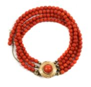 A Dutch four row coral bead bracelet,