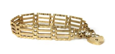 A 9ct gold four row gate bracelet,