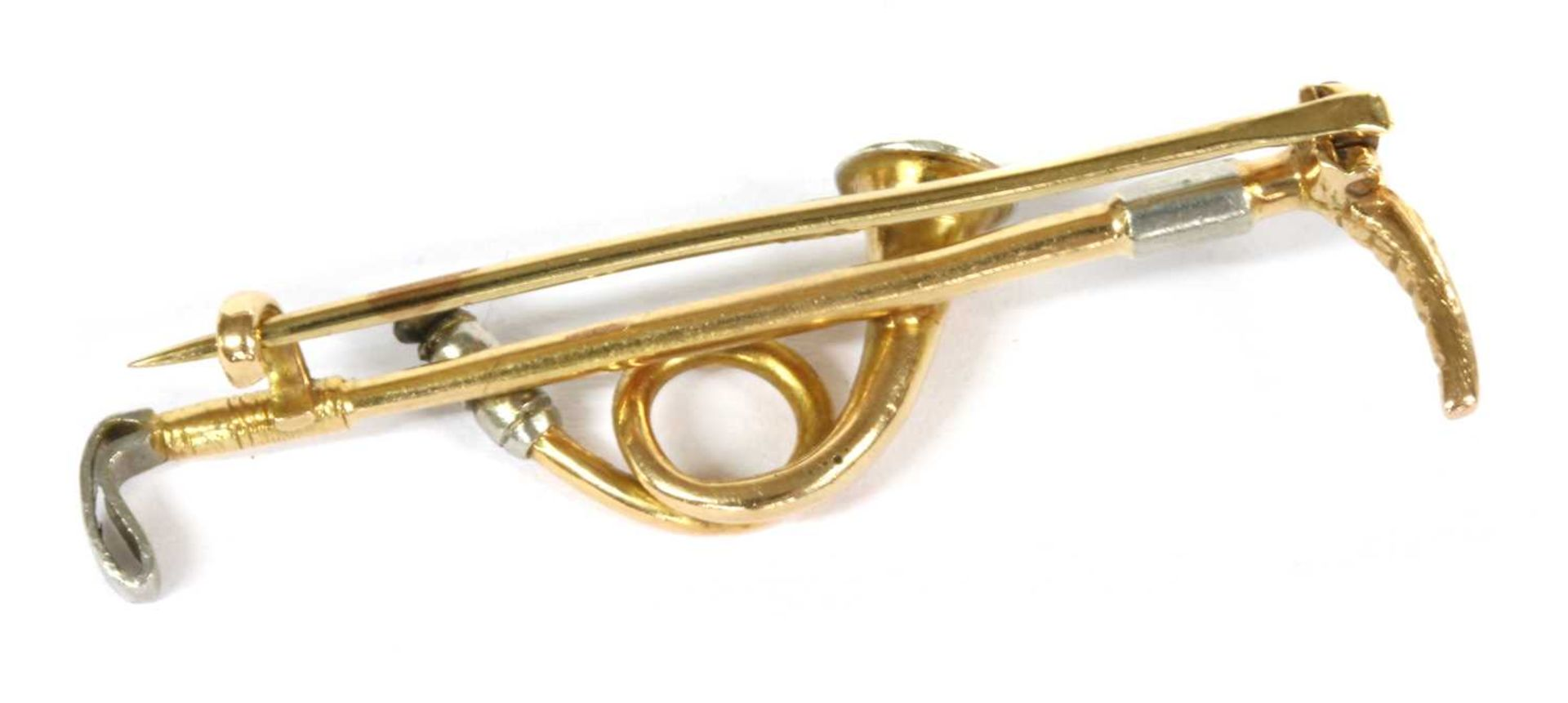 A gold and platinum hunting horn brooch, - Image 2 of 2