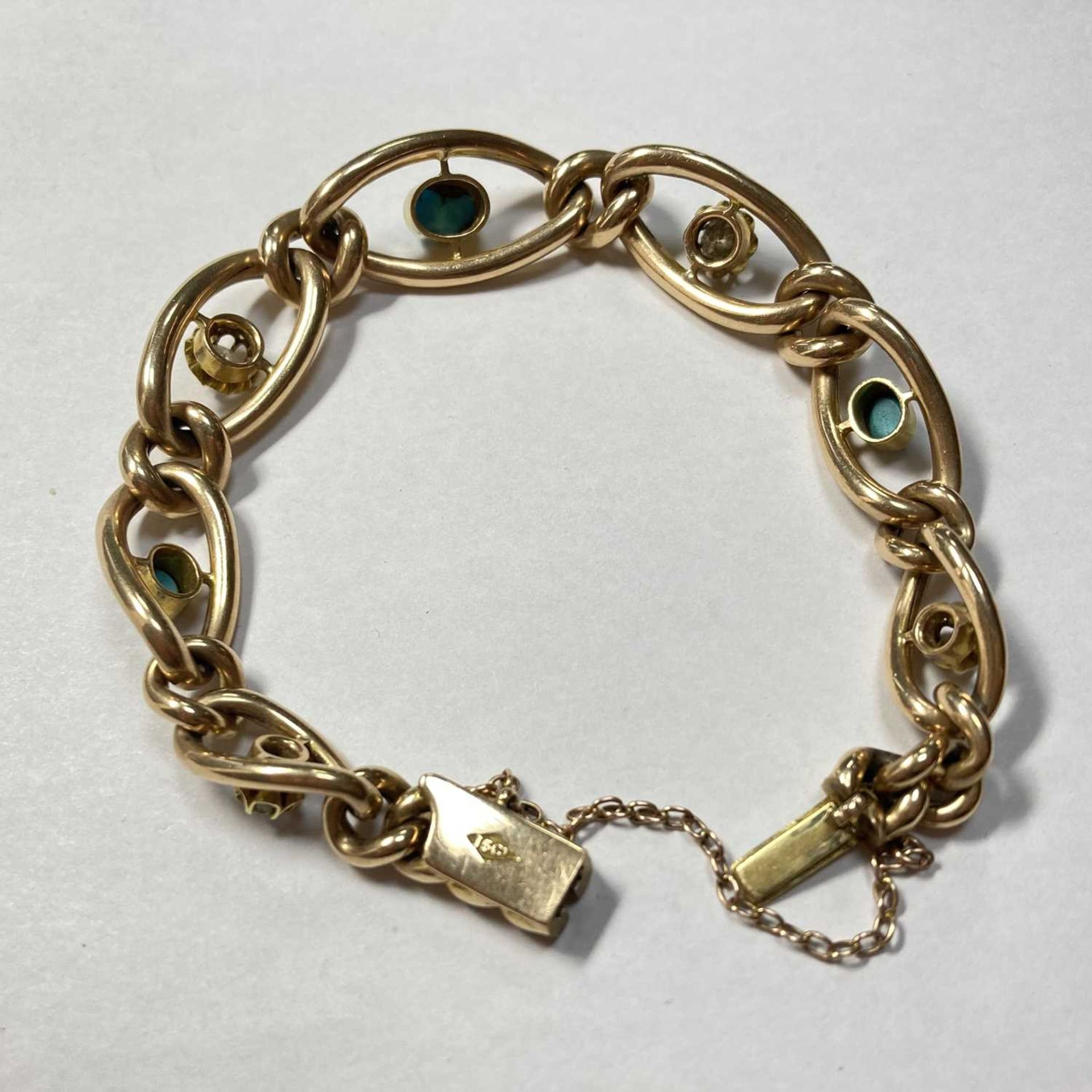 A Victorian gold turquoise and diamond graduated curb bracelet, - Image 3 of 4