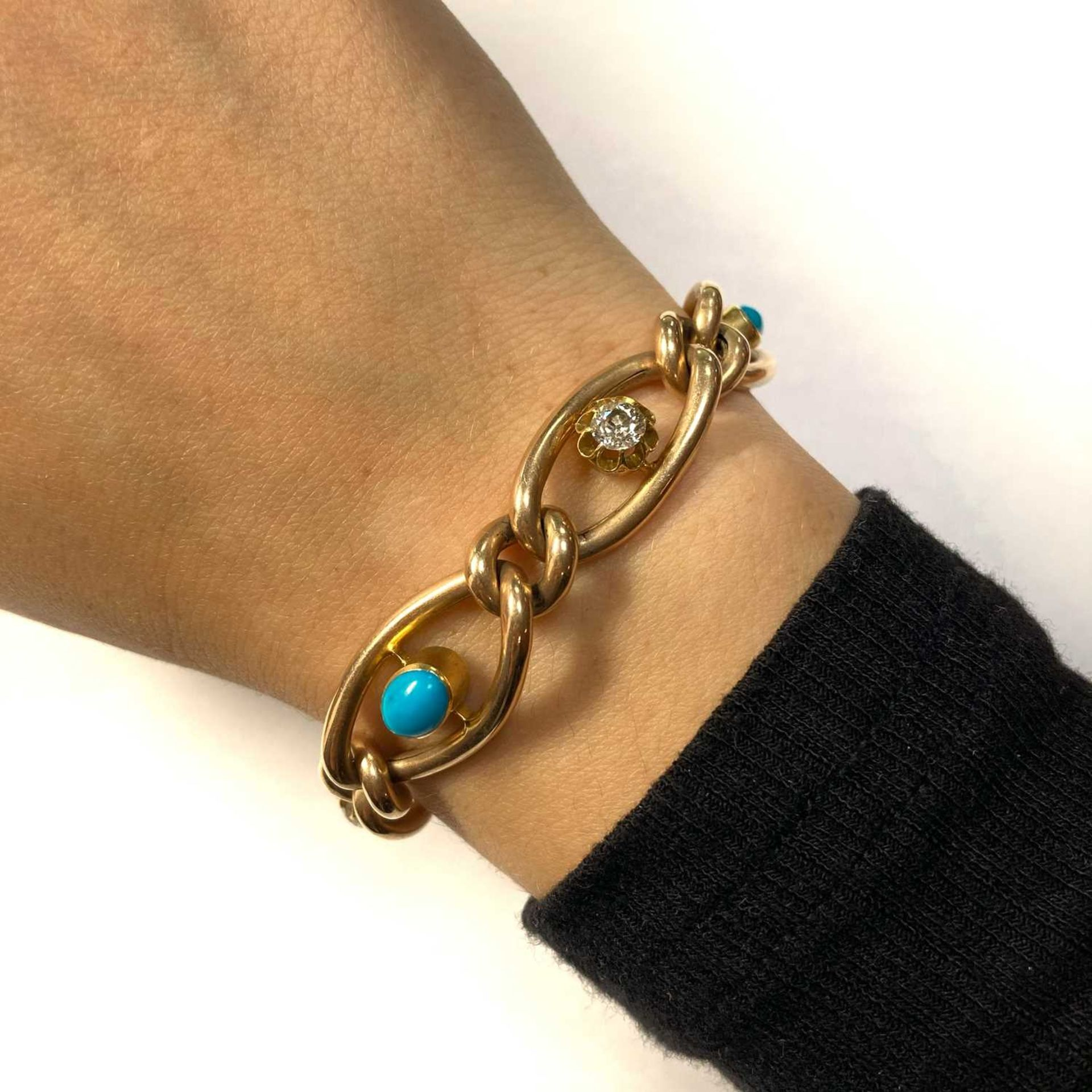 A Victorian gold turquoise and diamond graduated curb bracelet, - Image 2 of 4