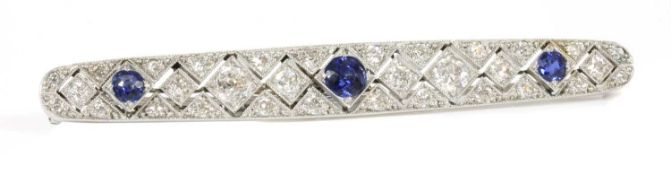 An Art Deco sapphire and diamond plaque brooch, c.1920,