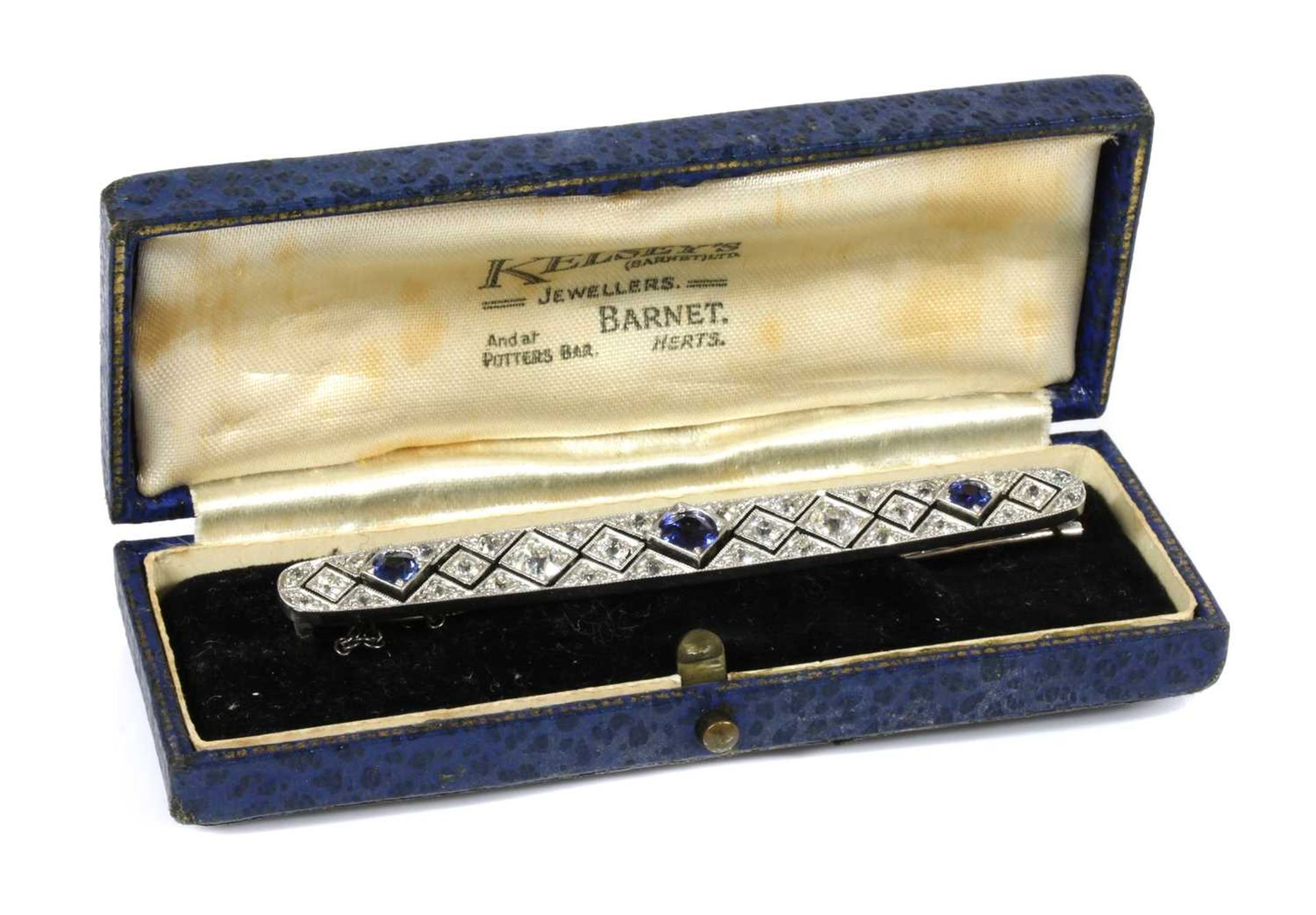 An Art Deco sapphire and diamond plaque brooch, c.1920, - Image 2 of 2