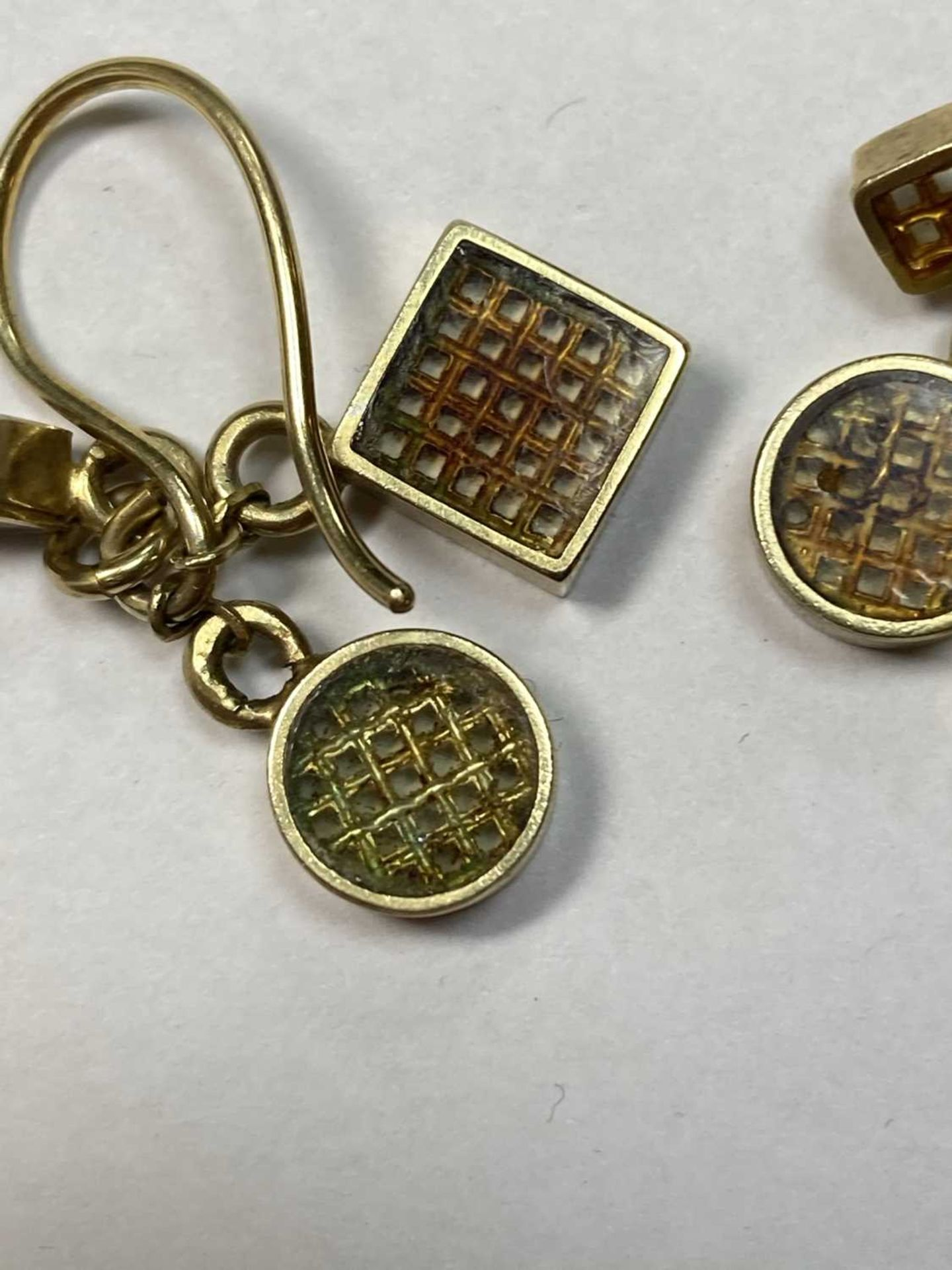 A pair of silver gilt drop earrings, - Image 4 of 8