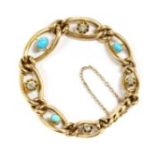 A Victorian gold turquoise and diamond graduated curb bracelet,