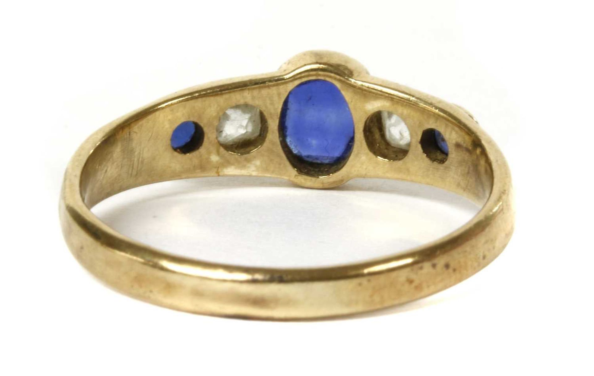 A gold sapphire and diamond five stone ring, - Image 2 of 6