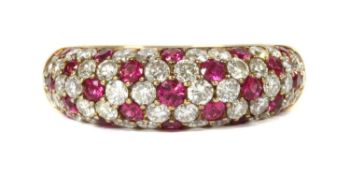 A gold ruby and diamond ring,