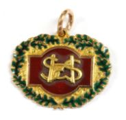 A 9ct gold enamel long service medal,