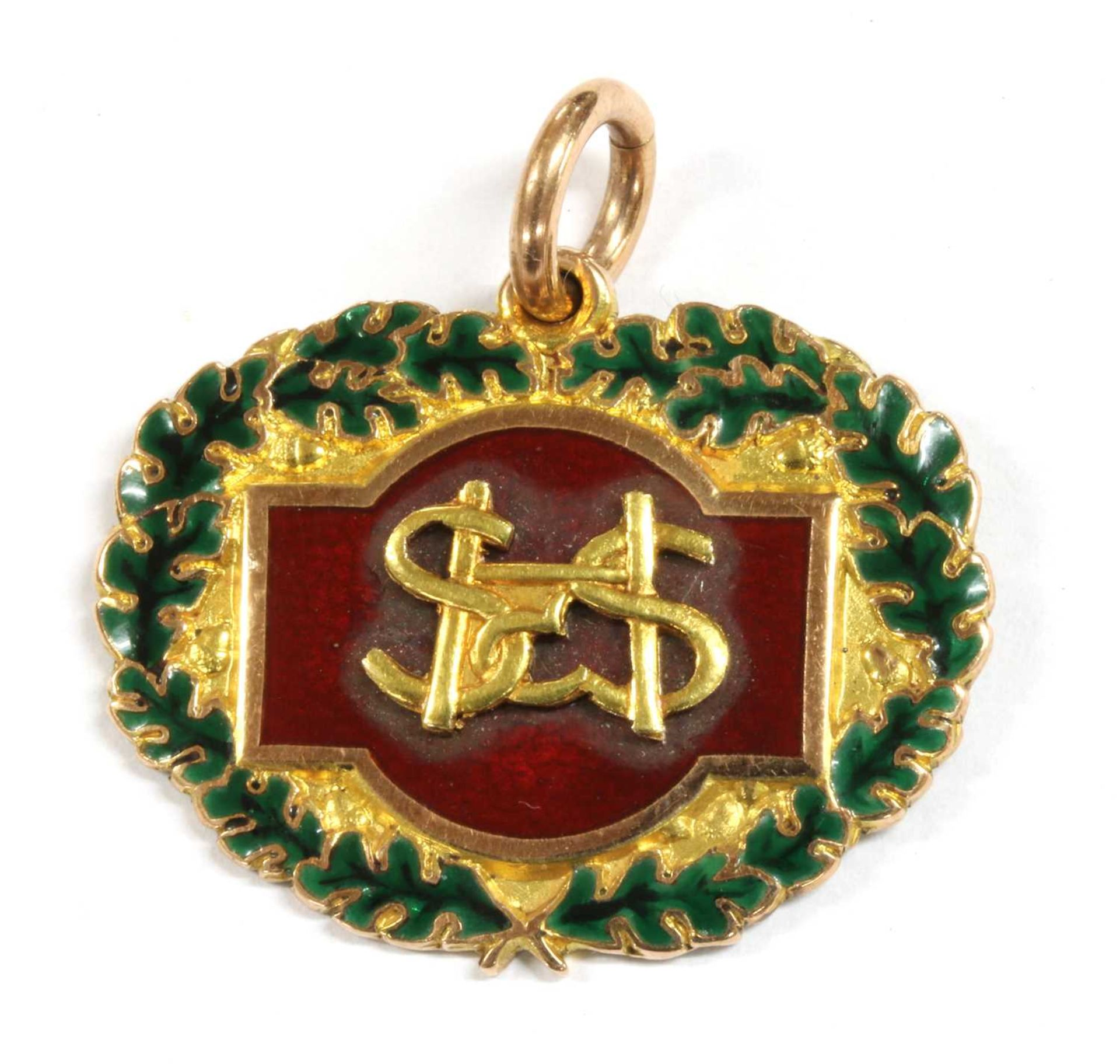 A 9ct gold enamel long service medal,