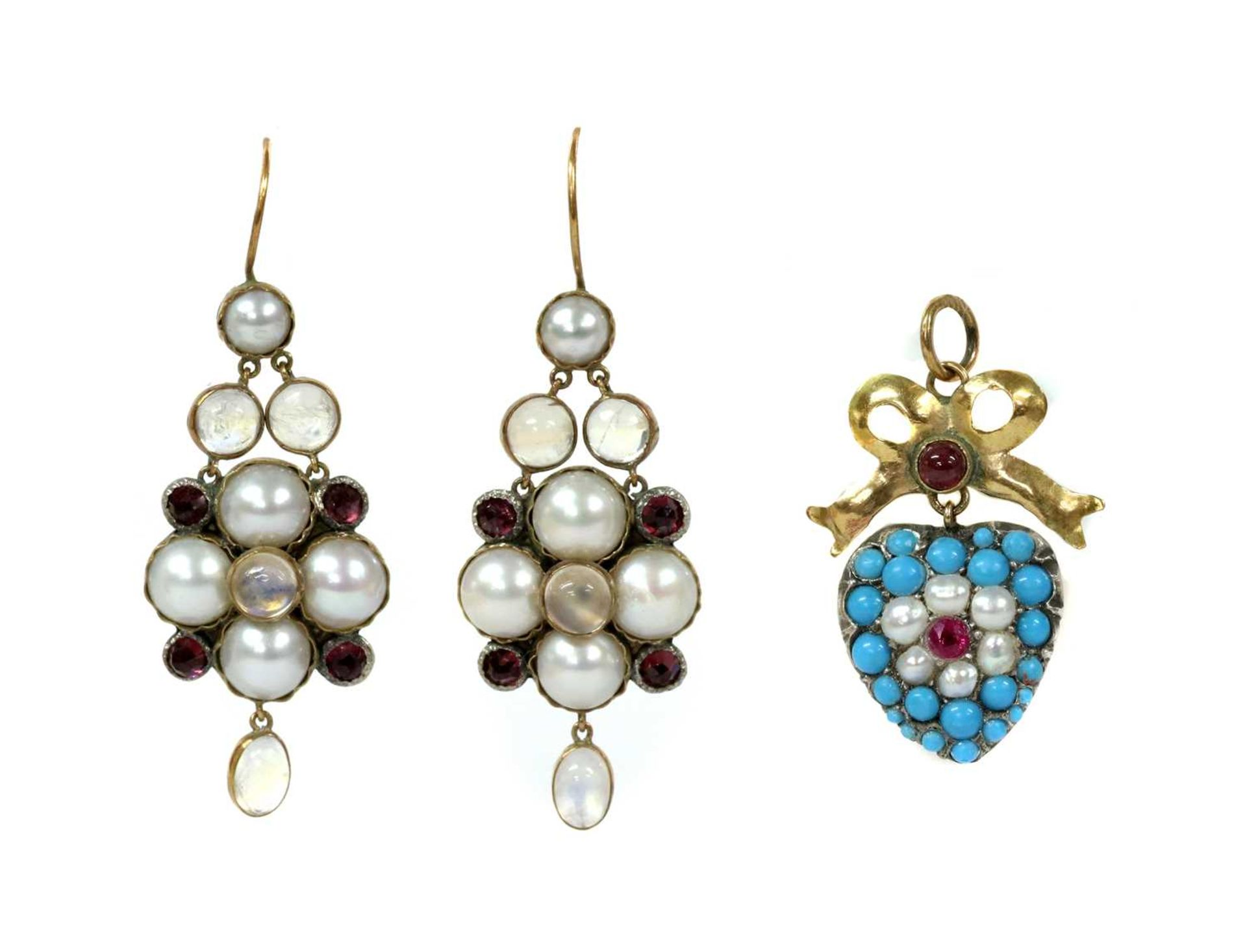 A pair of gold and silver, moonstone, split pearl and garnet earrings,