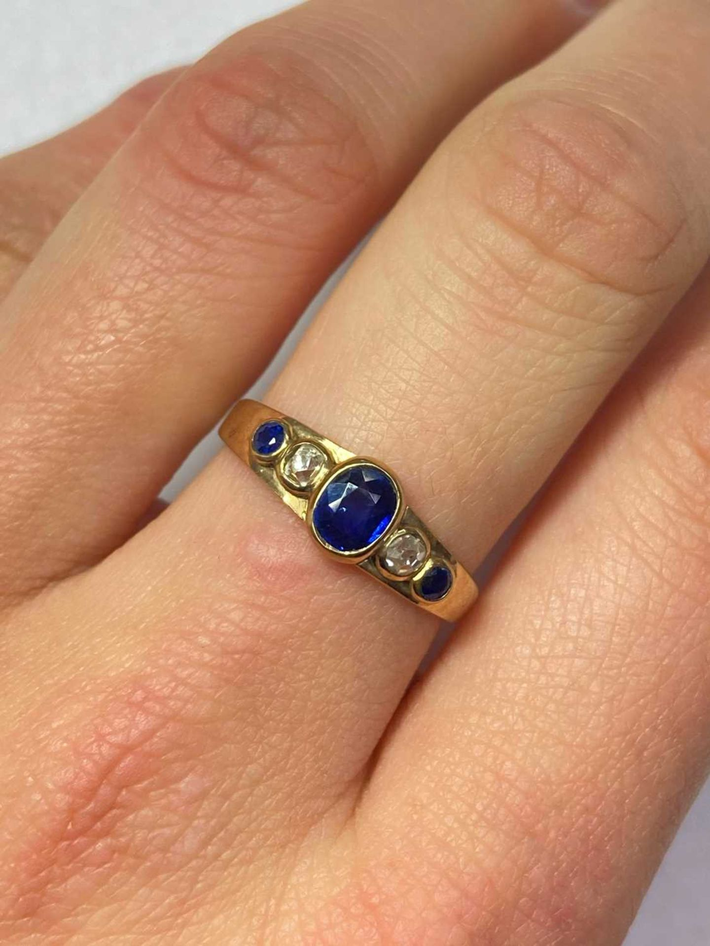 A gold sapphire and diamond five stone ring, - Image 4 of 6