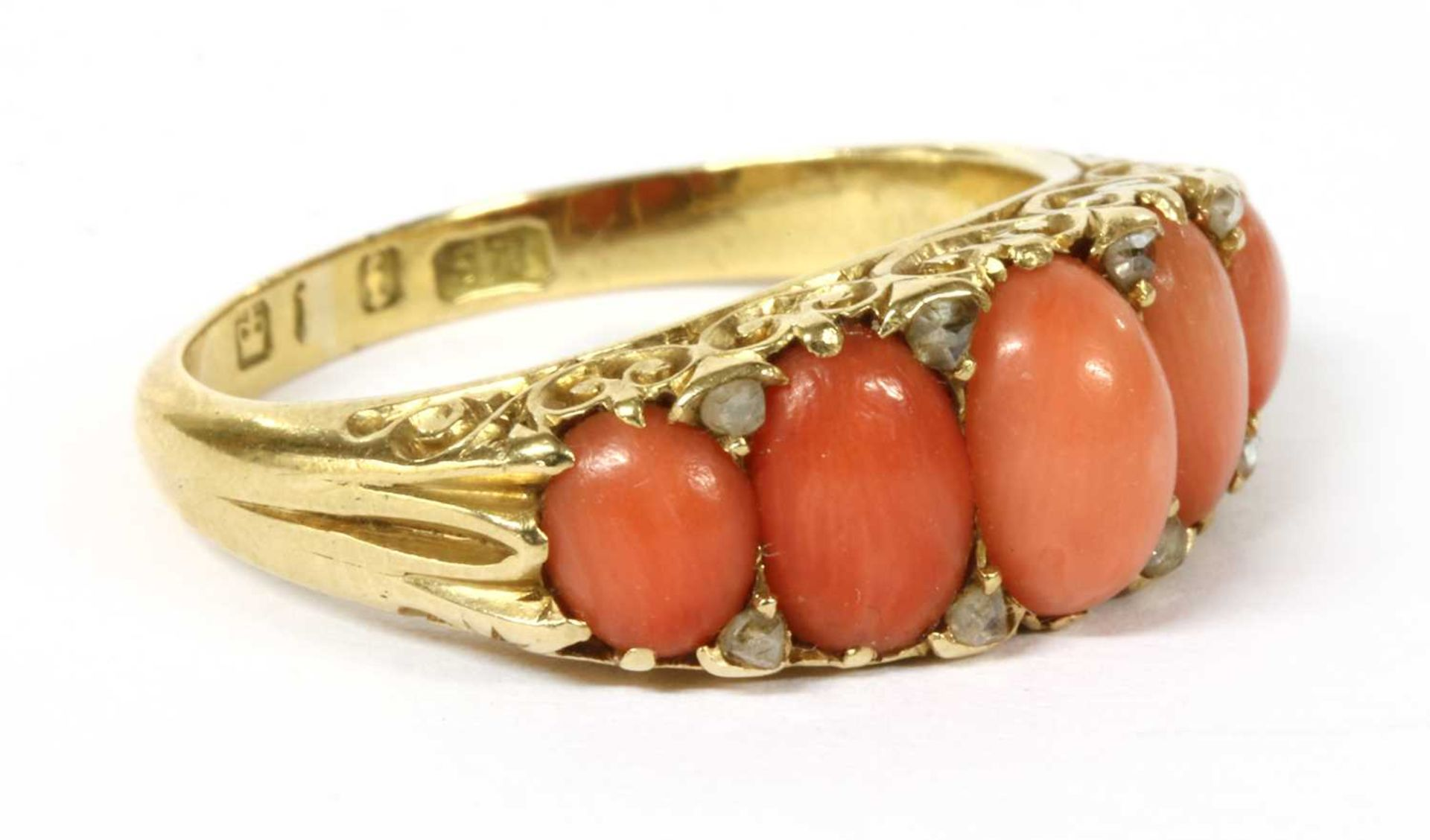 A Victorian gold five stone coral and diamond ring, - Image 3 of 4