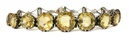A silver citrine bracelet,