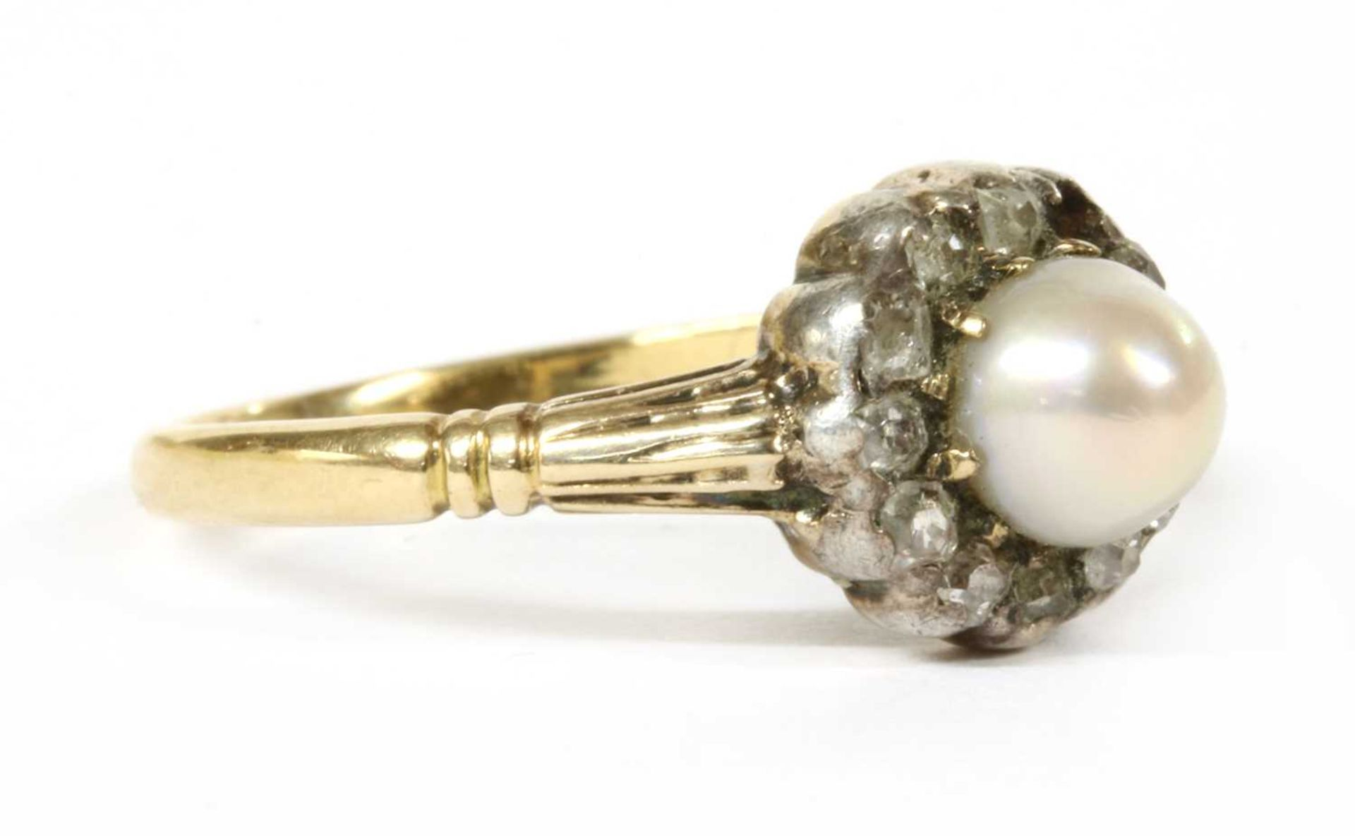 A gold pearl and diamond cluster ring, - Image 3 of 4