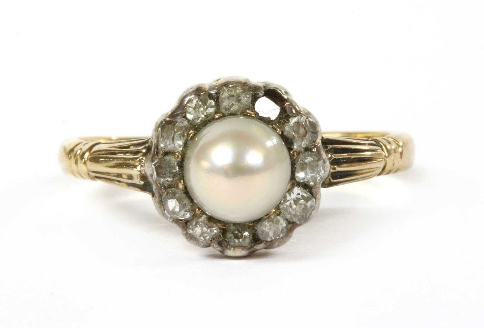 A gold pearl and diamond cluster ring,