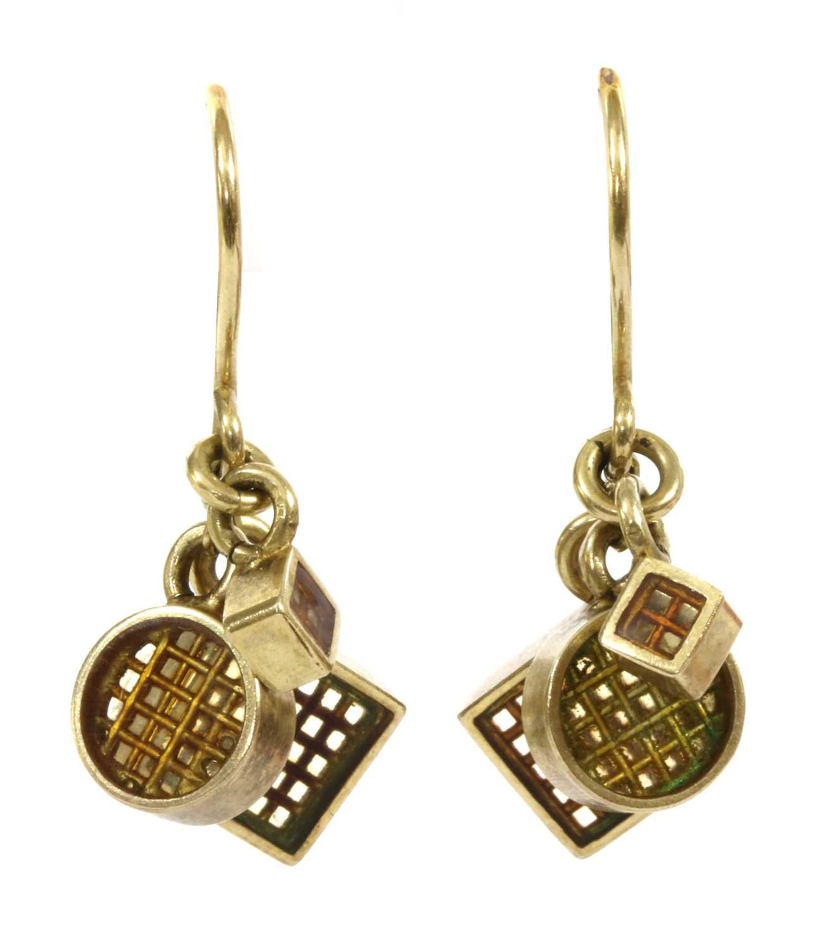 A pair of silver gilt drop earrings,
