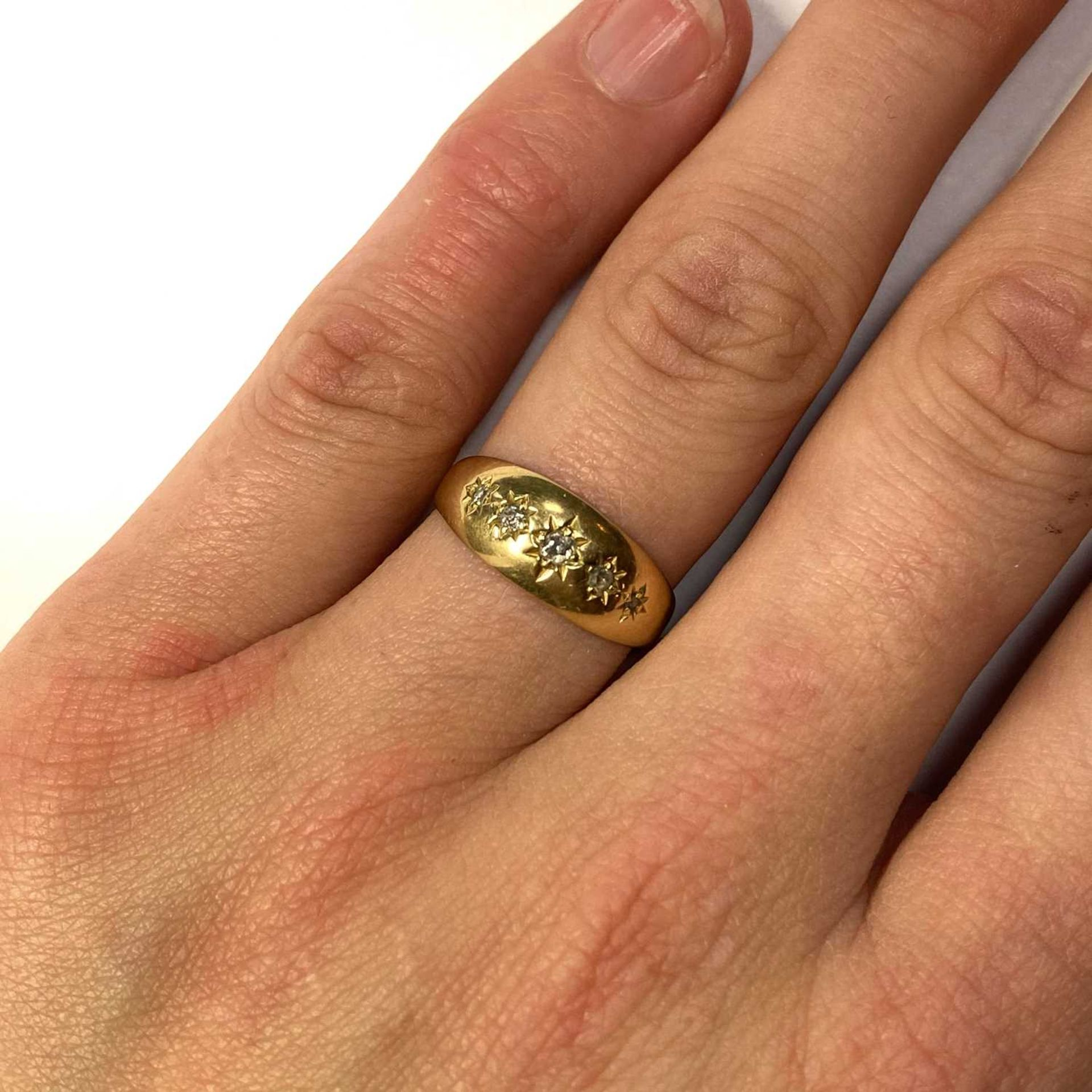 An 18ct gold five stone diamond ring, - Image 3 of 3