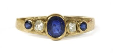 A gold sapphire and diamond five stone ring,